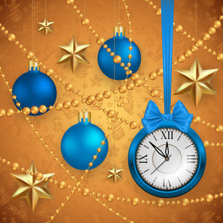 Illustration of Christmas or New Year decoration with blue clock, bow, balls, gold beads and stars Illustration