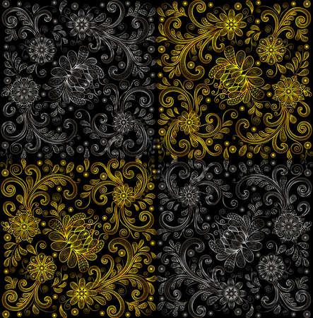 Illustration of floral doodle pattern with lacy ornament in gold and silver colors on black background