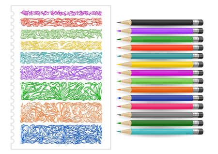Illustration of floral design elements, dividers, borders and colored pencils isolated