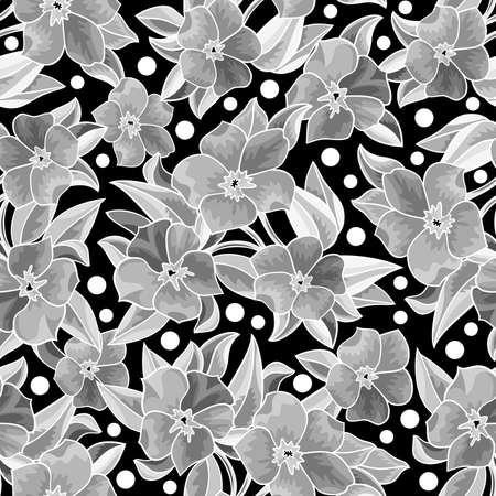 Illustration of seamless  floral pattern with leaves and flowers in grey colors on black background Illustration