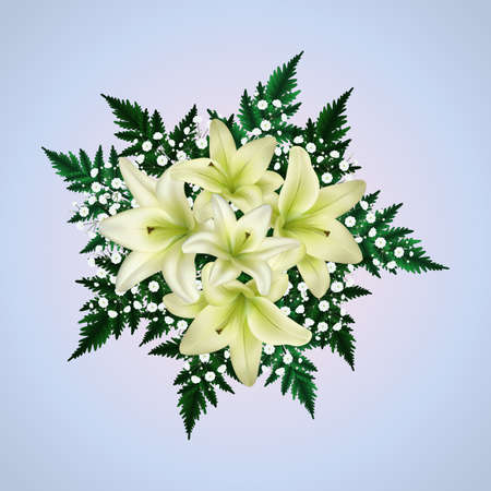 Illustration of bouquet of white lily and gypsophila flowers with fern branches