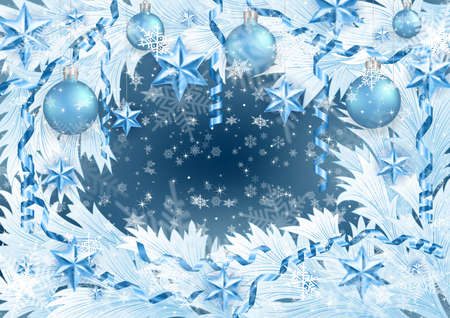 Illustration of winter background with balls, stars, streamers, hoarfrost frame and snowflake background. Christmas decoration