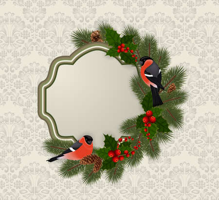 Illustration of Christmas or New Year greeting card template with bullfinch birds, fir tree, holly berry branches, cones and ornamental background