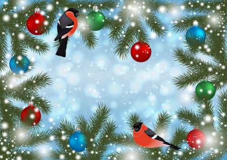 Illustration of Christmas or New Year decoration with bullfinch bird, balls, fir tree branches and snowflake background