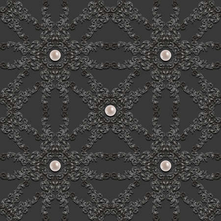 baroque pearl: Illustration of seamless pattern with abstract ornament in grey colors and pearl decoration Illustration