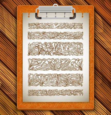 Illustration of clipboard with design elements, dividers and borders on wood background