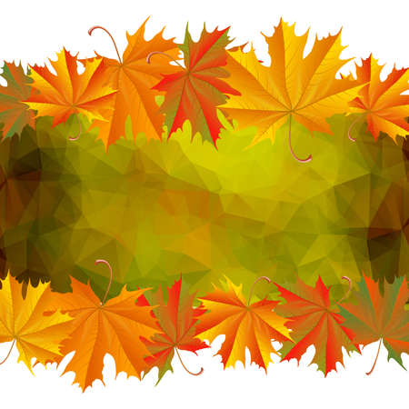 Illustration of autumn maple leaves with triangle background
