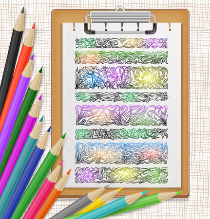 Illustration of clipboard with floral design elements, dividers and borders, colored pencils on checked background Illustration