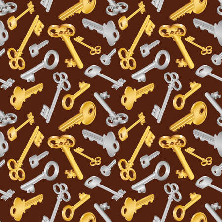 Illustration of seamless pattern with house keys in golden and silver colors on brown background Illustration