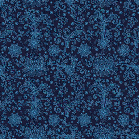 Illustration of seamless floral doodle pattern with lacy ornament in blue colors