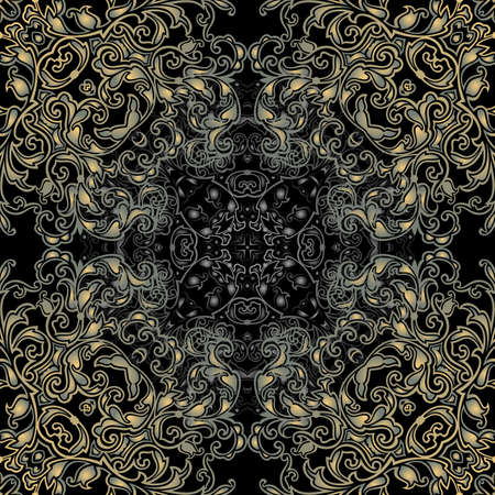 Illustration of seamless pattern with abstract ornament in gold and silver colors on black background