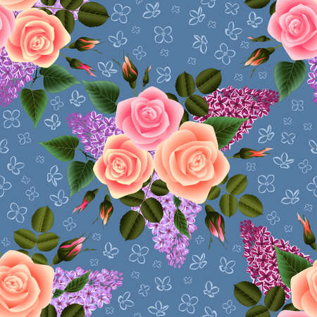 Illustration of seamless floral pattern with roses and lilac flowers