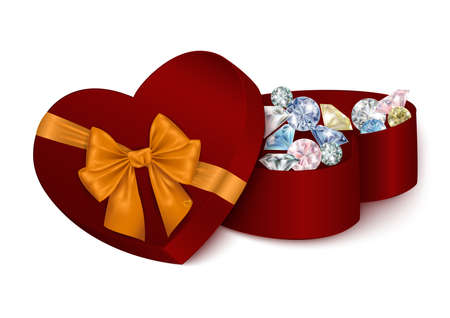 Illustration of heart shaped gift box with golden bow and diamonds