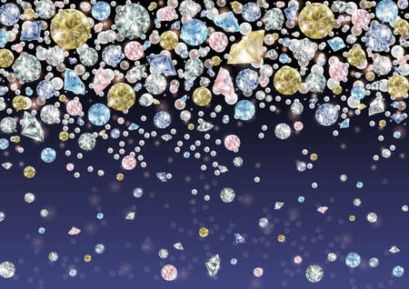 Illustration of falling gems background with diamonds and pearls Illustration