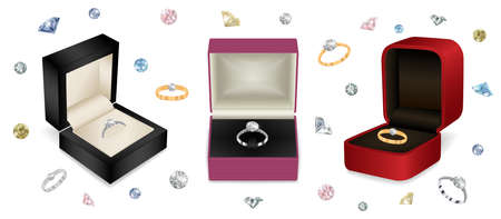 Illustration of gift jewelry boxes with diamond rings and colorful diamond background Illustration