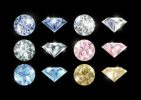 Illustration of various colored diamonds set on black background Illustration