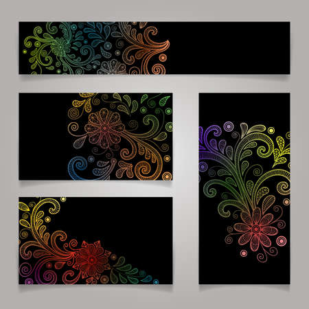 Illustration of card templates with colorful floral doodles and black background