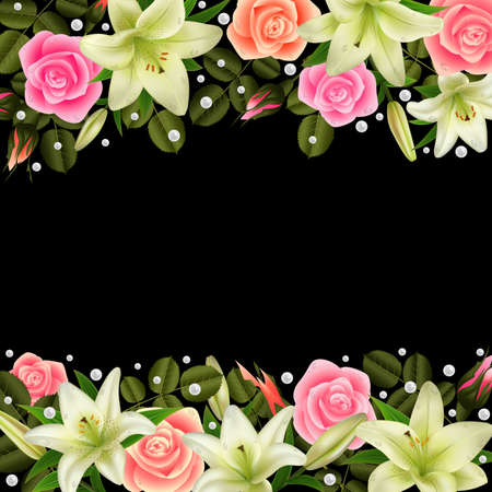 Illustration of floral borders with roses, white lily flowers and pearl decoration on black background Illustration