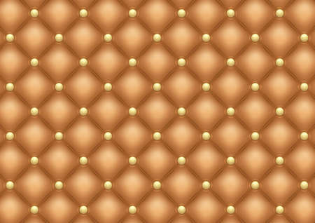 Illustration of brown leather upholstery background with gold buttons