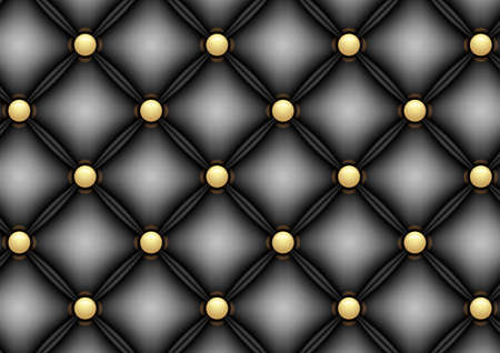 Illustration of black leather upholstery background with gold buttons