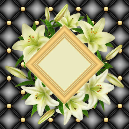 Illustration of greeting or invitation card template with frame, white lily flowers and upholstery background