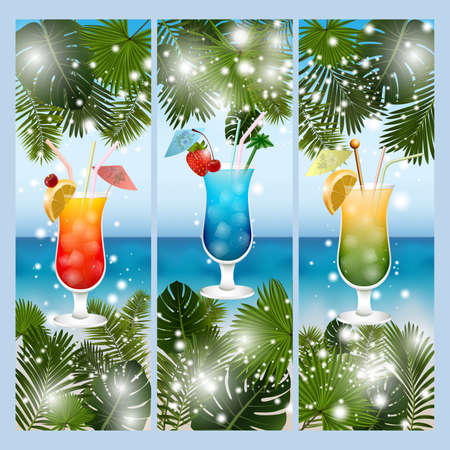 Illustration of banners with palm leaves, alcoholic cocktails and summer seashore background