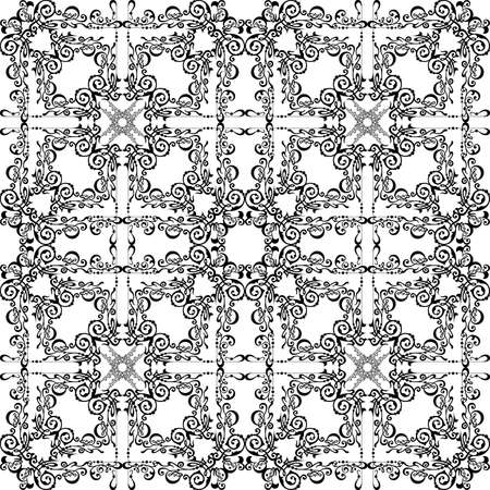 Illustration of seamless pattern with abstract ornament in black color isolated