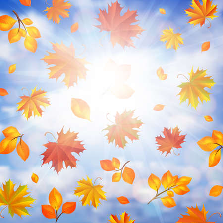 Illustration of colorful autumn leaves and cloudy sky background Illustration