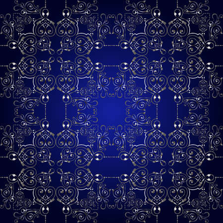 Illustration of seamless pattern with abstract ornament in silver color on blue background