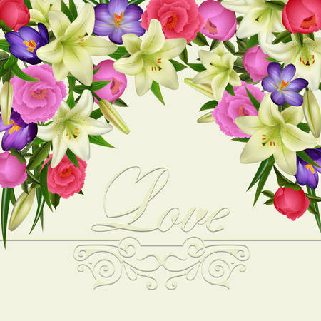 Illustration of greeting or invitation card template with lily, peony, crocus flowers, love lettering and ornate border