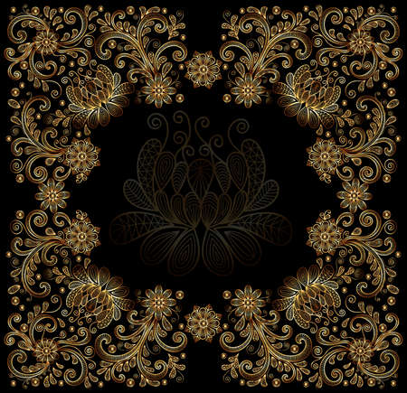 Illustration of floral doodle frame from lacy ornament in gold color on black background