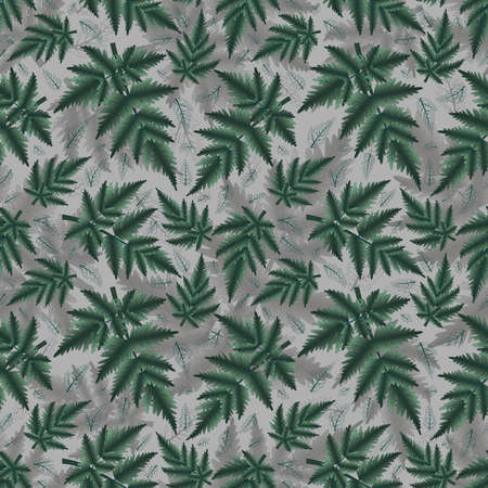 Illustration of seamless floral pattern with fern branches