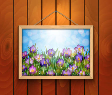 Illustration of purple crocus flowers in picture frame hanging on wooden wall Illustration