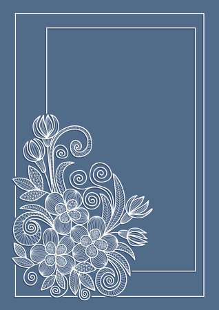 Illustration of greeting or invitation card template with floral doodles Illustration