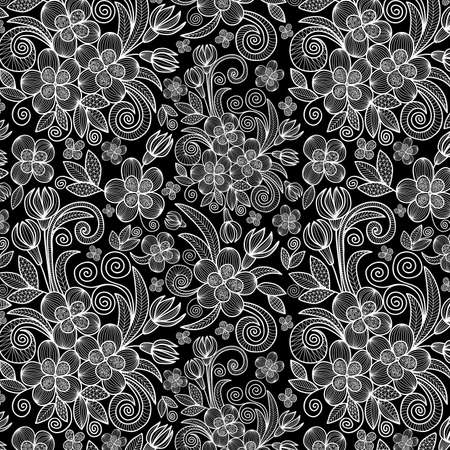 Illustration of floral doodle pattern with lacy ornament in white color on black background
