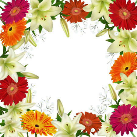 Illustration of greeting or invitation card template with lily, gerbera daisy flowers and gypsophila branches isolated