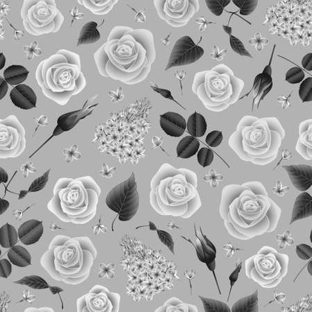 Illustration of seamless floral pattern with roses and lilac flowers in grey colors