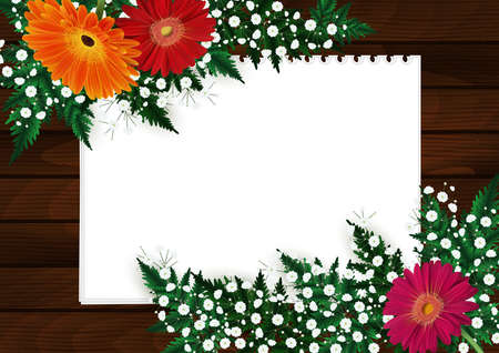 Illustration of greeting or invitation card template with gerbera daisy flowers, gypsophila, fern branches, blank paper sheets and wooden pattern. Illustration