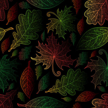 Illustration of  pattern with colorful autumn doodle leaves in various colors. Illustration