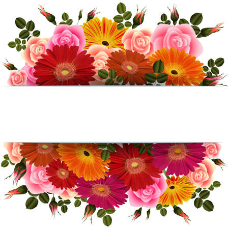 Illustration of greeting or invitation card template with roses, gerbera daisy flowers and horizontal banner.