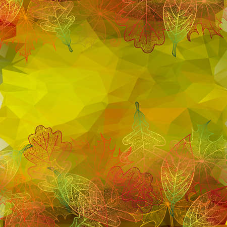 Illustration of autumn doodle leaves with polygonal background