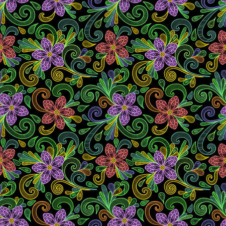 Illustration of seamless pattern with abstract doodle flowers in various colors