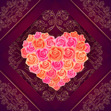 Illustration of valentines day card template with heart made of roses and gold ornamental background