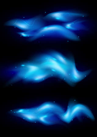 Illustration of blue flame tips and sparks on black background Stock Vector - 95242889