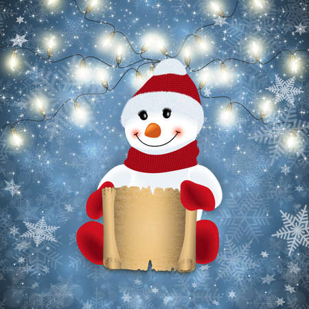 Illustration of snowman with scroll, light garland and snowflake background
