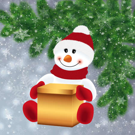 Illustration of snowman with gift box and fir tree branches background covered with snowflakes