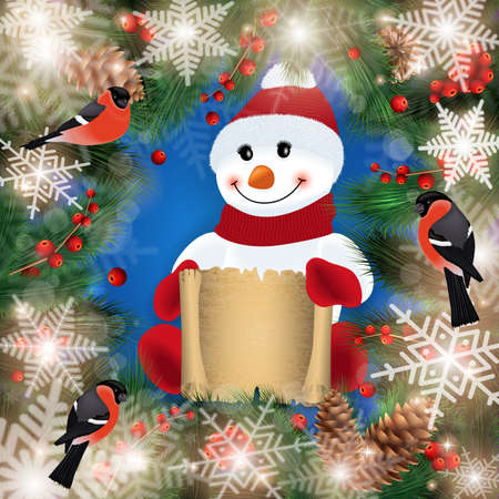 Illustration of snowman with scroll, fir tree, holly berry branches, cones, bullfinch birds and snowflake background
