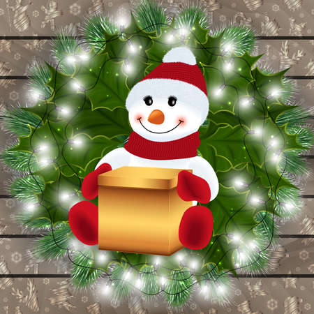 Illustration of snowman with gift box, fir tree branches, holly leaves, light garland and wood background  Illustration