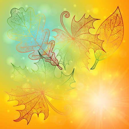Illustration of autumn doodle leaves on glitter background  Illustration