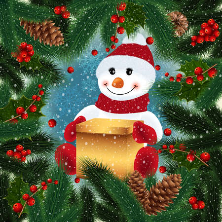 Illustration of snowman with gift box, fir tree, holly berry branches, cones and snowflake background